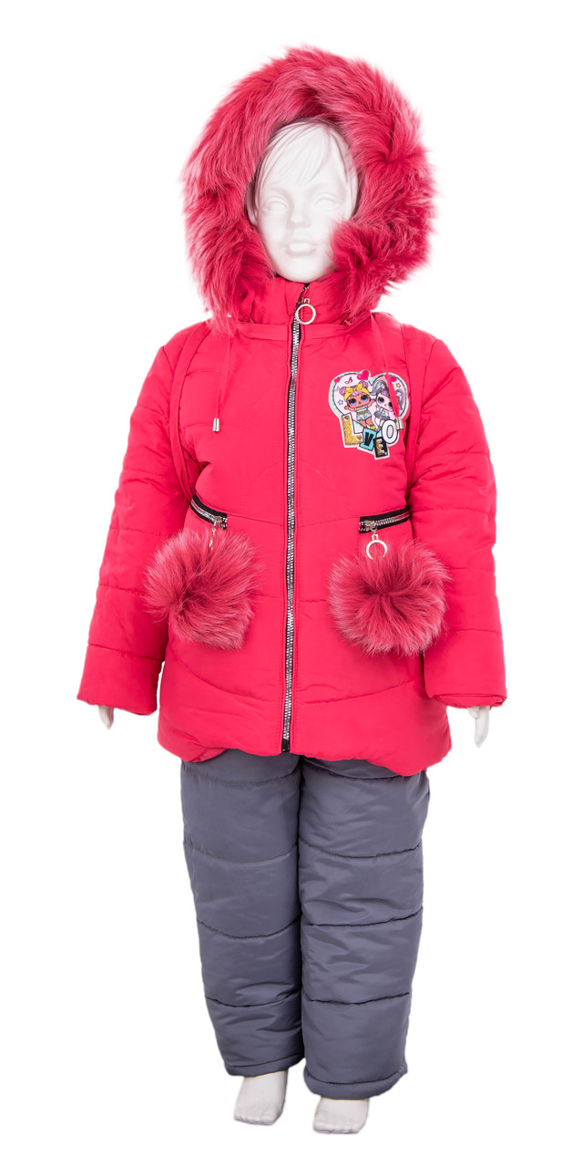 Детский комбинезон зимний девочка   22-28 малиновый