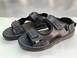Тёмно-синие кожаные комфортные сандалии на липучках Detta, фото 6