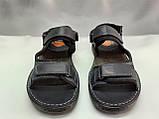 Тёмно-синие кожаные комфортные сандалии на липучках Detta, фото 8