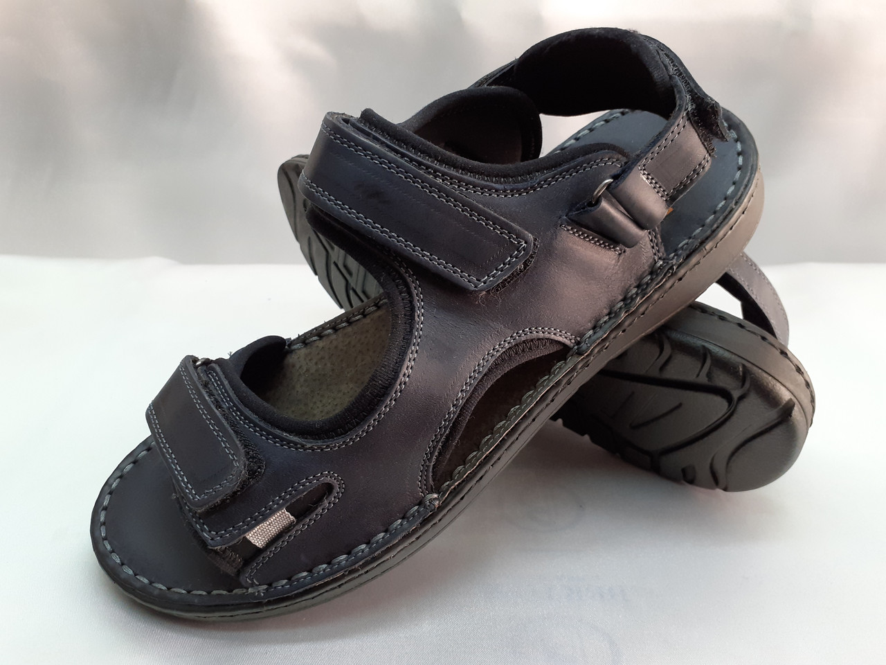 Тёмно-синие кожаные комфортные сандалии на липучках Detta