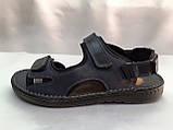 Тёмно-синие кожаные комфортные сандалии на липучках Detta, фото 3