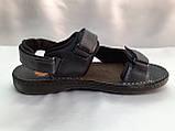 Тёмно-синие кожаные комфортные сандалии на липучках Detta, фото 2