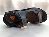 Тёмно-синие кожаные комфортные сандалии на липучках Detta, фото 4