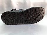 Тёмно-синие кожаные комфортные сандалии на липучках Detta, фото 10