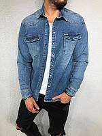Джинсовый пиджак мужской синий Black Island с принтом на спине