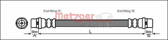 Шланг тормозной передний правый/левый AUDI A4 SEAT EXEO 1.6-4.2 02.96- METZGER 4112829