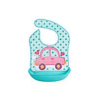 Слюнявчик детский на кнопках с карманом Машина 30*23см