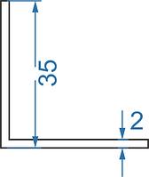 Алюмінієвий кутник рівносторонній 35х35х2 мм з покриттям. Порізка в розмір.