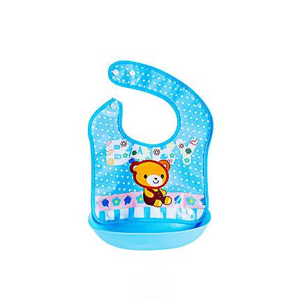Слюнявчик детский на кнопках с карманом Мишка 30*23см