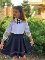 Школьная блузка для девочки №749 (р.128-146) белая, фото 1