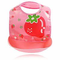 Слюнявчик детский на кнопках с карманом Клубника 30*23см, фото 1