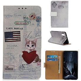 Чехол книжка для Huawei Honor 9X боковой с отсеком для визиток, USA Cat