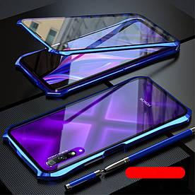 Чехол бампер для Huawei Honor 9X металлический + съемная крышка на магнитах, синий