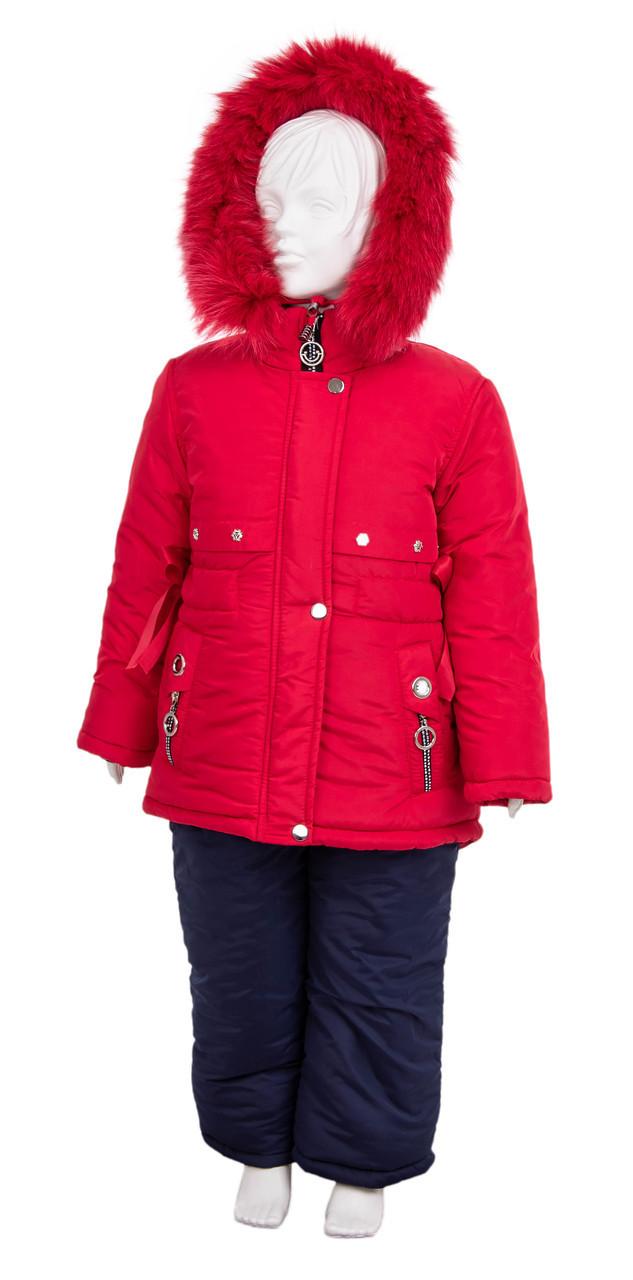 Зимний комбинезон для девочки от производителя  22-28 красный