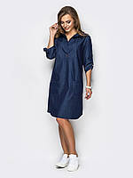 Платье джинсовое темно-синее короткое 44 46 48 50 52 54+