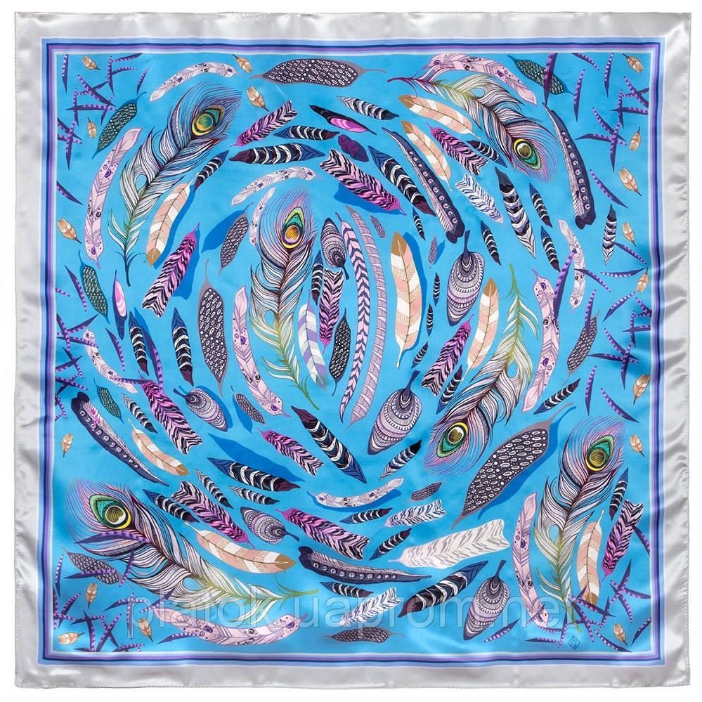 Платок шелковый (атлас)10077-13, павлопосадский платок (атлас) шелковый с подрубкой