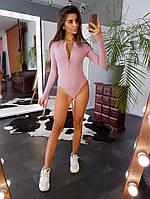 Розовое боди в рубчик на пуговицах с длинными рукавами