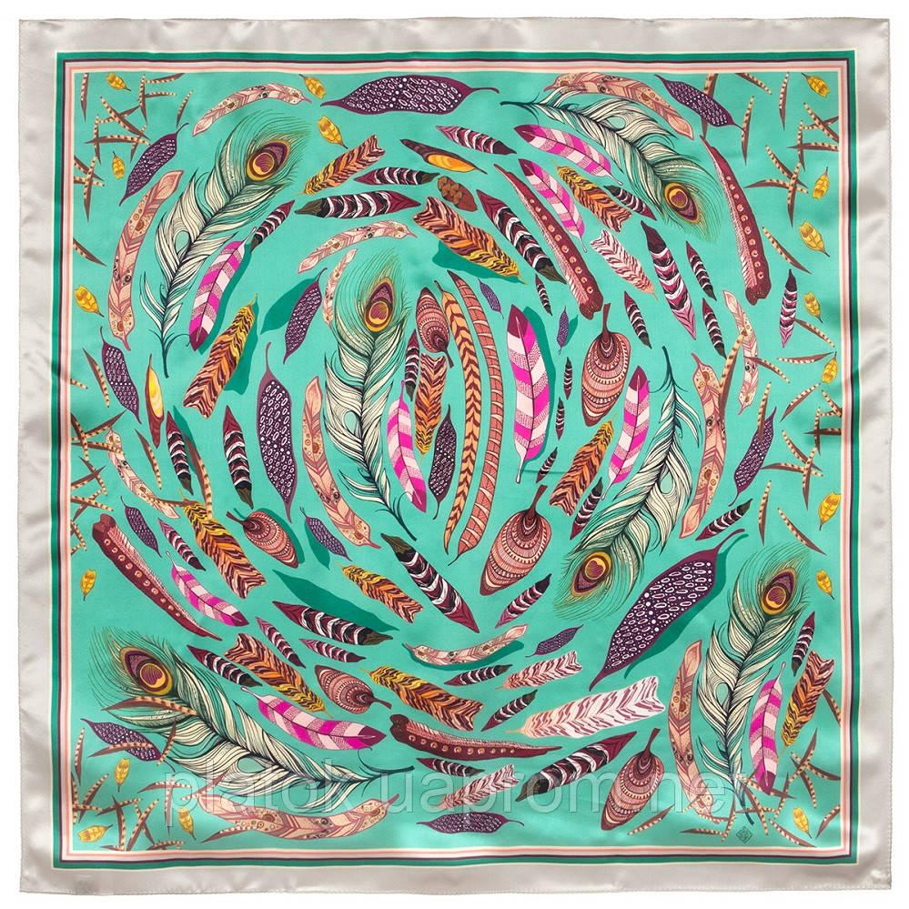 Платок шелковый (атлас)10077-9, павлопосадский платок (атлас) шелковый с подрубкой