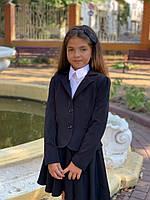 Школьный костюм с юбкой для девочки пиджак+юбка №513-614 (р.122-134) черный, фото 1