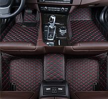 3D коврики для Toyota RAV4 2013 - 2018 (европеец) кожаные с высокими бортиками