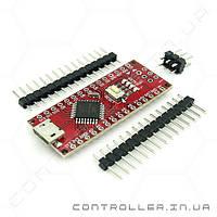 Arduino Nano 3.0 ATMega168 ножки не распаяны MicroUSB. красная