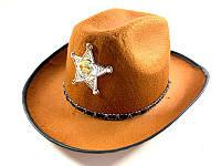 Шляпа карнавальная шерифа - аксессуар для вашего образа, светло-коричневая