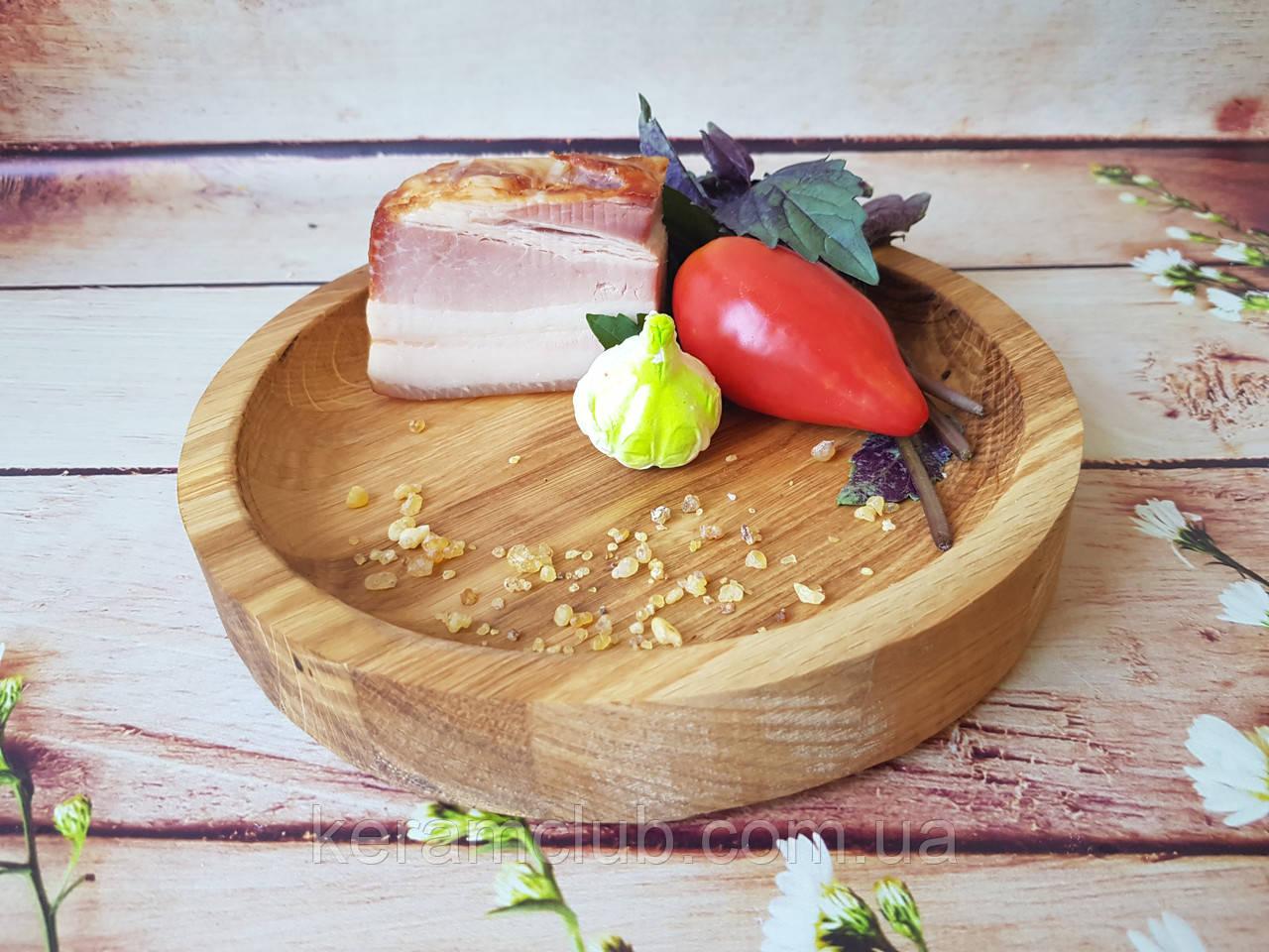 Деревянная порционная тарелка из дуба d 21 см