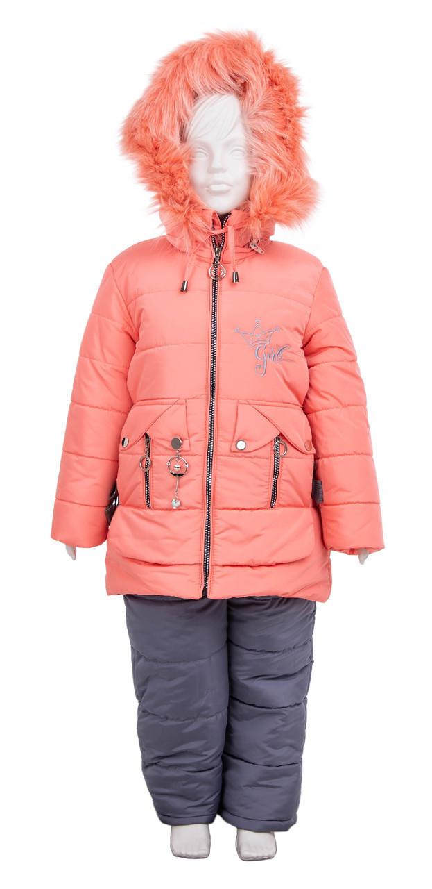 Зимний комбинезон для девочки интернет магазин  22-28 персик