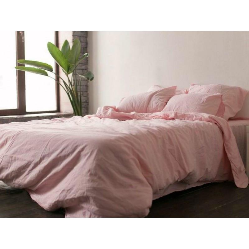 Постельное белье лен Розовый ТМ Царский дом (Семейный)
