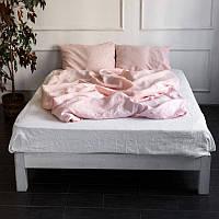 Постельное белье лен Розовый+Белый микс  ТМ Царский дом  (Евро)