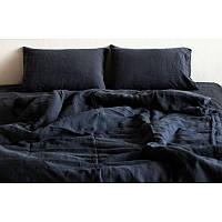 Постельное белье лен Угольно-синий ТМ Царский дом  (Полуторный)