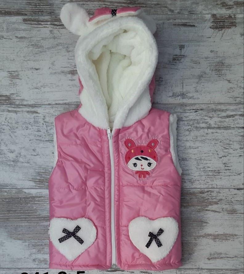 Жилетка детская #841 для девочек. 3-4-5 лет (98-110 см). Розовая. Оптом.
