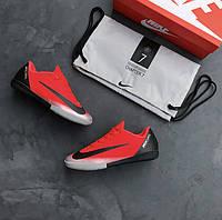 Футзалки ( Найк Меркуриал )  Nike Mercurial Vapor XII Academy CR7 IC - Bright Crimson/Black/Chrome/Dark Grey