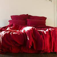 Постельное белье лен Красный ТМ Царский дом (Семейный)
