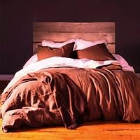 Постельное белье Лен Красно-коричневый (кирпичный) ТМ Царский дом Евро макси