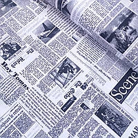 Бязь с газетным принтом на белом фоне, ширина 220 см