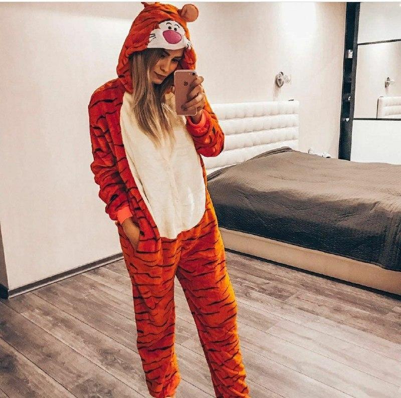 (S, M, L, XL) Пижама кигуруми тигр взрослый, подросток v145