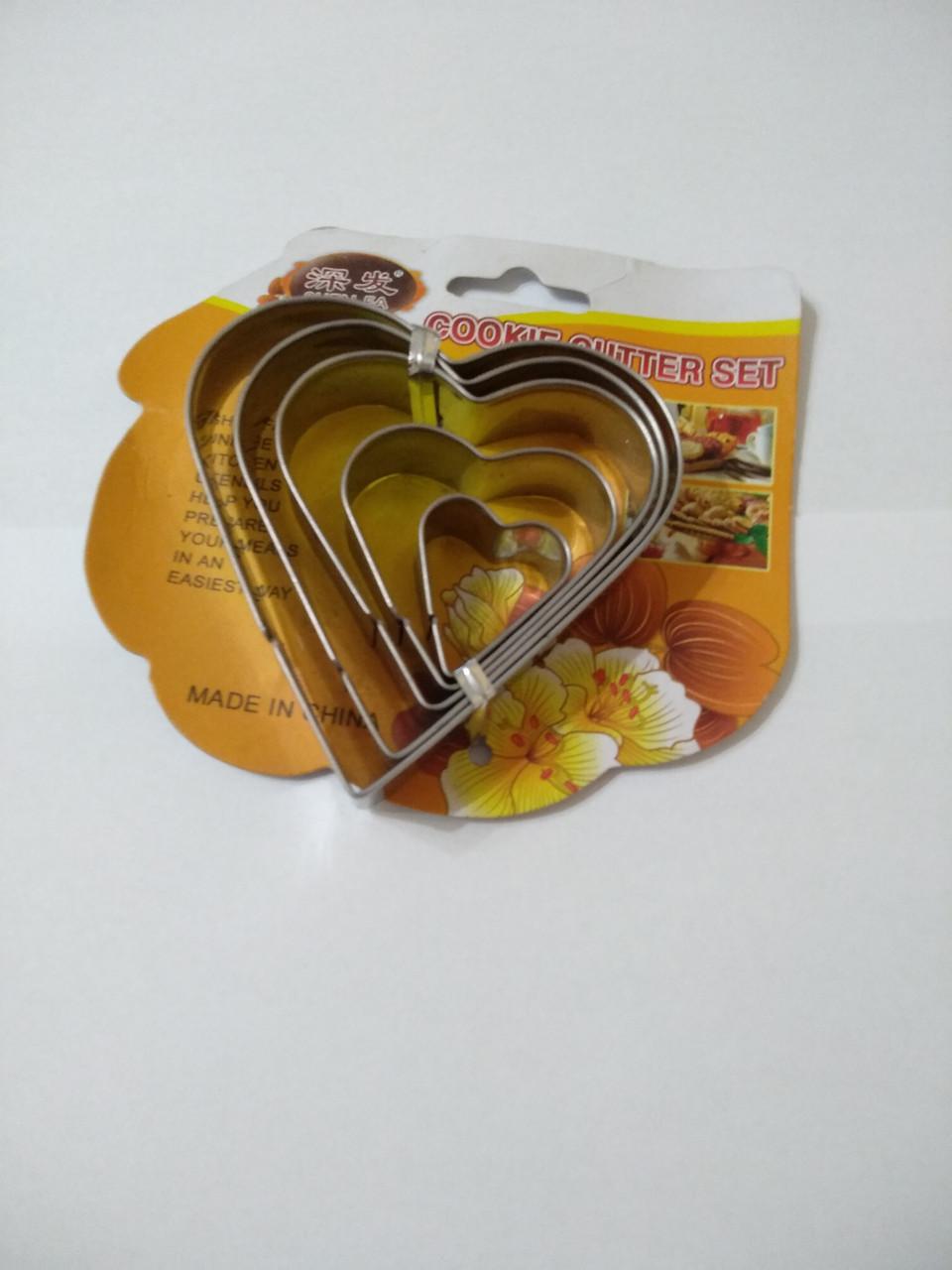 Набор ножей для теста печенье 5 штук сердце