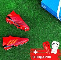 Бутсы (Адидас)  Adidas Predator 19+ FG red