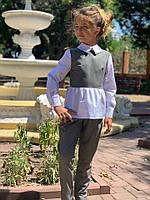 Школьный костюм для девочки №728 (р.128-146) серый, фото 1