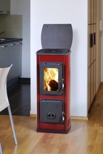 Отопительно-варочная печь камин   MILANO II - красная (  буржуйка, каминофен, изразцовая печка  ).