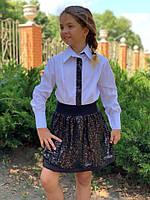 Детская блузка с пайеткой №723 (р.122-146) черная и синяя, фото 1