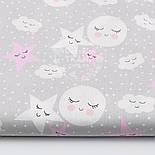 """Лоскут ткани""""Спящие звёзды и луна"""" розовые на сером № 1525, размер 29*80 см, фото 2"""