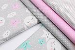 """Лоскут ткани""""Спящие звёзды и луна"""" розовые на сером № 1525, размер 29*80 см, фото 8"""