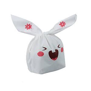 Подарочный пакет с ушками 10 шт, зайчик розовый