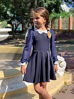 Школьное платье для девочки №671 (р.122-140) темно-синий, фото 1