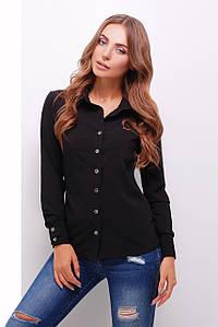 Женская однотонная базовая  рубашка с длинными рукавами черная