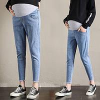 666812 Голубые широкие джинсы для беременных