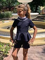 Школьный костюм с шортами №726 (р.122-146) черный, синий, фото 1