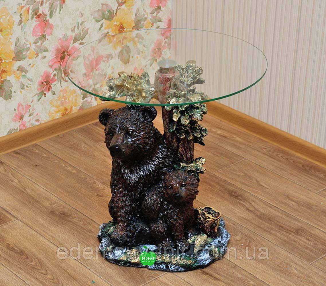 Стол журнальный Медведь с медвежонком столешница 55 см
